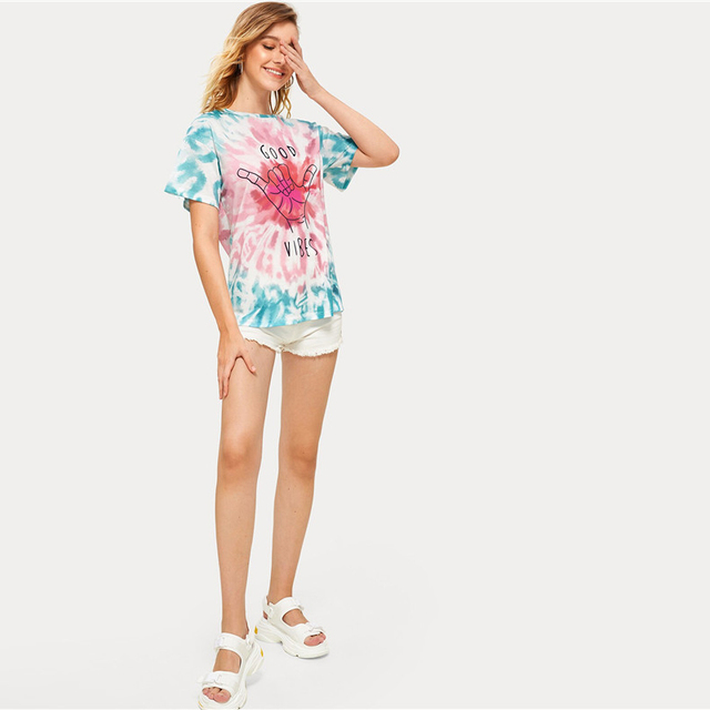 Good Vibes Short Sleeve Stretchy Summer T Shirt