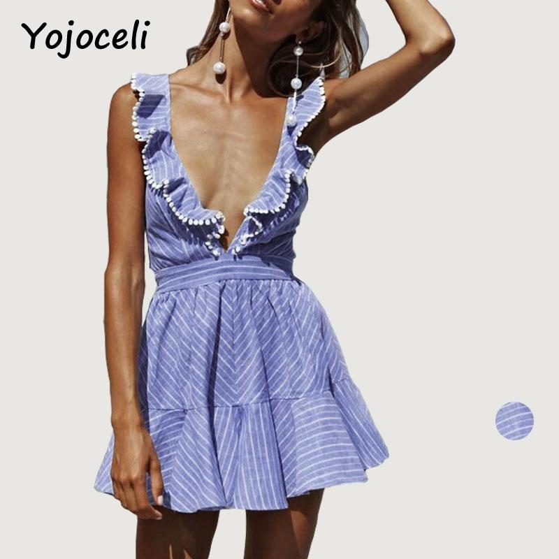 Yojoceli profunda v neck ruffle dress mujeres sexy party dress vestidos de veran