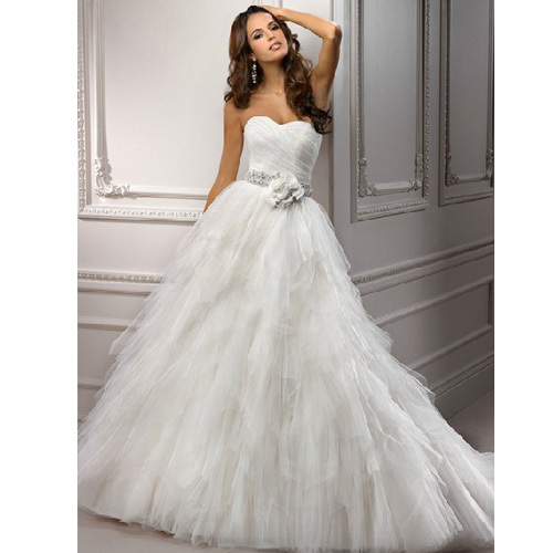 Beautiful A Line Sleeveless Floor Length Long Bridal Gowns White Ivory Wedding Dresses Hot