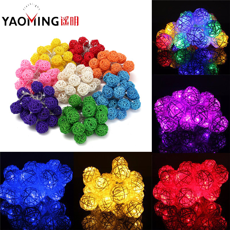 3M 20 Led Rattan Ball LED String Light 8 Color Christmas Lights Outdoor Lighting Wedding Garland Decor Curtain Decoration Lights ...