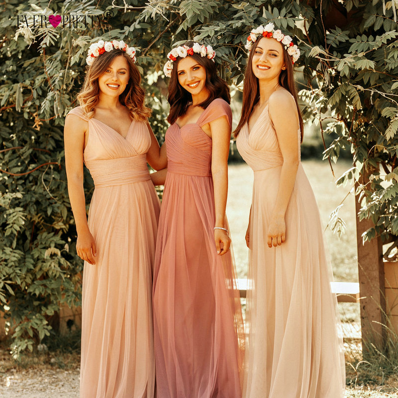 Blush Pink Bridesmaid Dresses Ever Pretty EP07303 Sweetheart A-line V-neck Sleeveless Wedding Party Dress Elegant for Women(China)