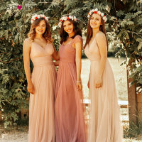 Blush Pink Bridesmaid Dresses Ever Pretty EP07303 Sweetheart A line V neck Sleeveless Wedding Party Dress Elegant for Women
