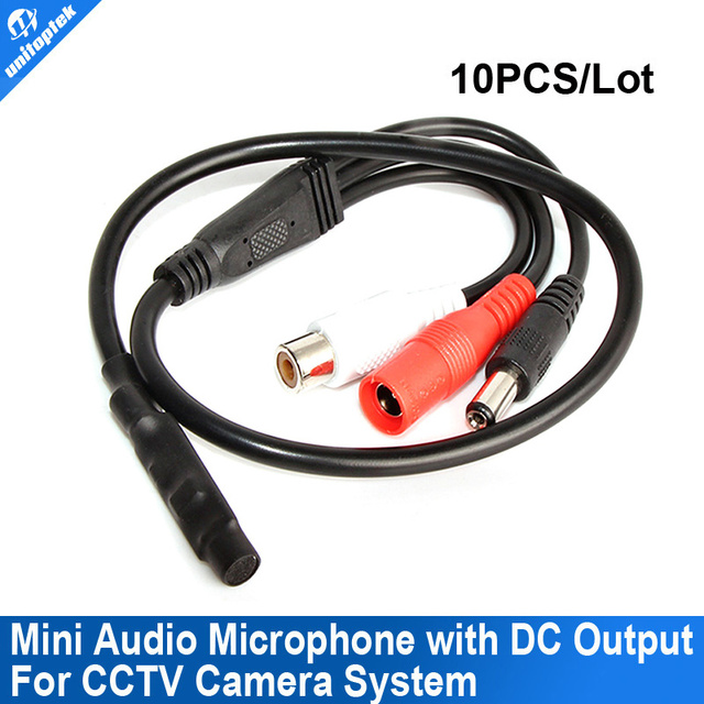 Audio pick up Mini cctv Microphone with DC output Mic Audio for CCTV Security Camera 10PCS/LOT
