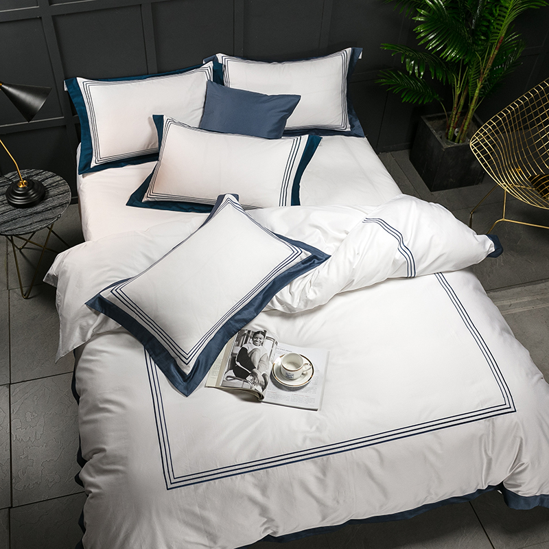 5-star Hotel White Luxury 100% <font><b>Egyptian</b></font> <font><b>Cotton</b></font> <font><b>Bedding</b></font> <font><b>Sets</b></font> Full Queen King Size <font><b>Duvet</b></font> Cover Bed/Flat Sheet Fitted Sheet <font><b>set</b></font> Pil image