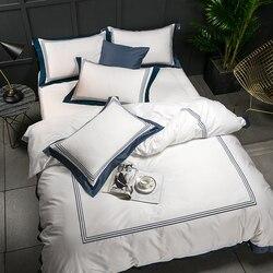 5 star Hotel biały luksusowe 100% egipska bawełna pościel ustawia pełna królowa poszwa na kołdrę w rozmiarze king łóżko/narzuta zestaw z prześcieradłem z gumką Pil|Zestawy pościeli|   -