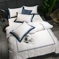 Juego de cama de algodón egipcio 100% de lujo blanco de 5 estrellas de Hotel juego de láminas ajustadas Pil
