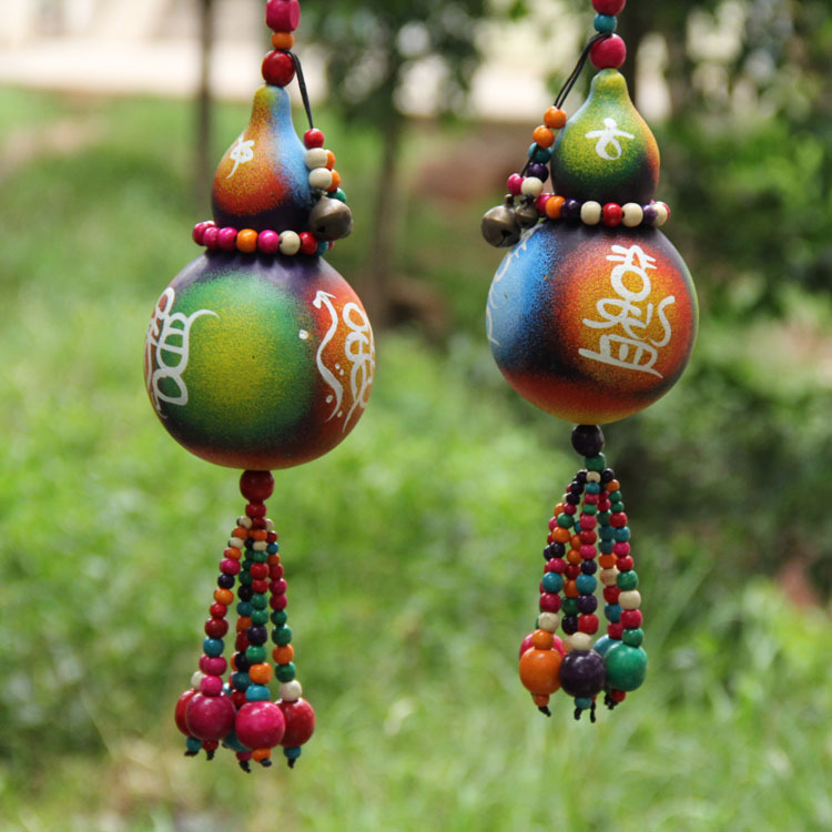 Traditional Chinese Feng Shui Wind Chimes Natural Gourd Ornaments Vintage  Hanging For Garden Decoration(China