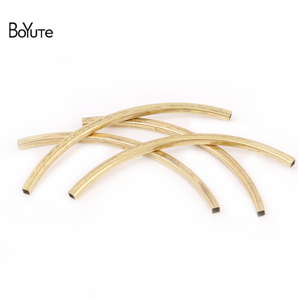 BoYuTe 100Pcs 2*2MM Diameter 30MM 40MM 50MM Length Metal Brass Bend Tube Square Tube DIY Hand Made Jewelry Findings Components