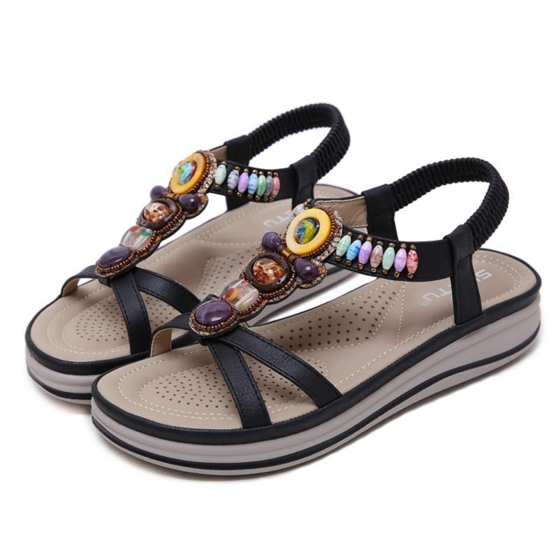 Женская обувь; коллекция 2019 года; летние сандалии на платформе в богемном стиле; женская модная повседневная обувь для свиданий - 3
