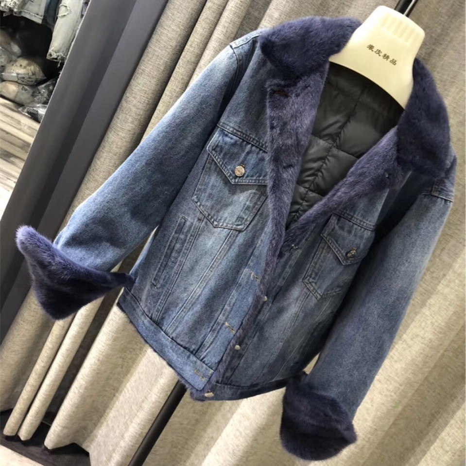 Real Mink Fur Coat And Jacket For Women Winter Down Liner Thick Warm Denim Coats Female