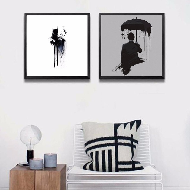 Modern Abstract Black And White Batman Art Poster for living room ...