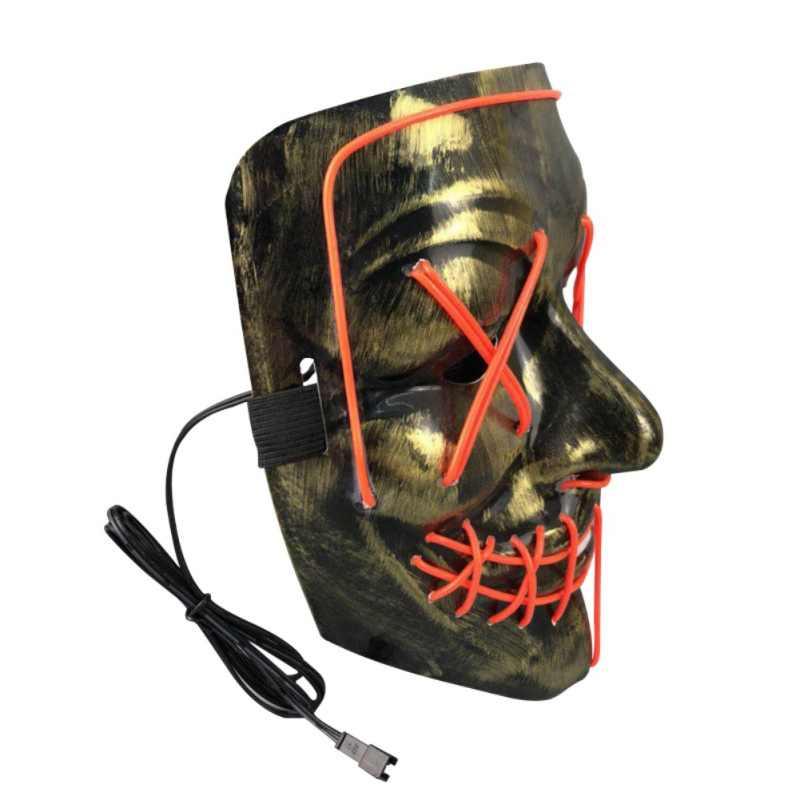 Светится в темноте EL маска на Хэллоуин вечеринку маскарадные маски светящаяся маска