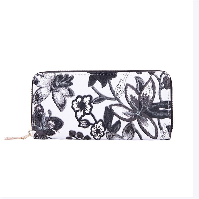 Women's Casual Floral Printing Card Holder Billfold Purse Wallet Handbag monedero mujer para monedas