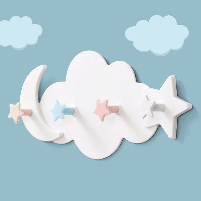 Hat Clothes Hooks Shelf Hanging HangerCreative Star Moon Cloud Shape Nail-free JJJSN11166