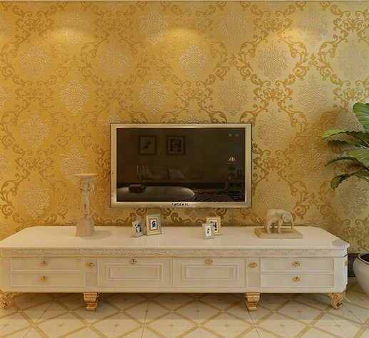 High Quality European Fashion Wallpaper Roll Damask Wall paper For Living room Bedroom Sofa TV Backdrop Papel De Parede  1000cm beibehang velvet modern damask feature papel de parede 3d wallpaper wall paper roll for living room bedroom tv backdrop