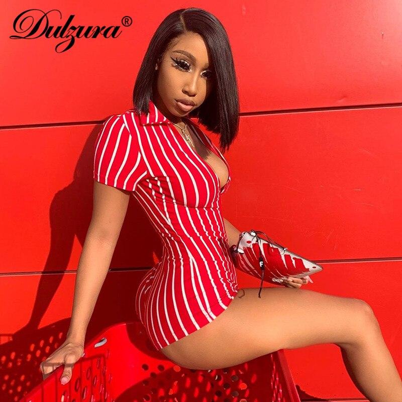 Dulzura 2019 Summer Women Playsuit Sexy Fitness Stripe Streetwear Clothes V Neck One Pieces Romper Body Plus Size Short Jumpsuit