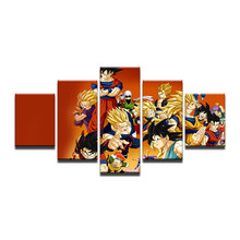 Poster Canvas Painting Wall Pictures For Living Room 5 Panels Cartoon Dragon Ball Character Decorative Modular Pictures(China)