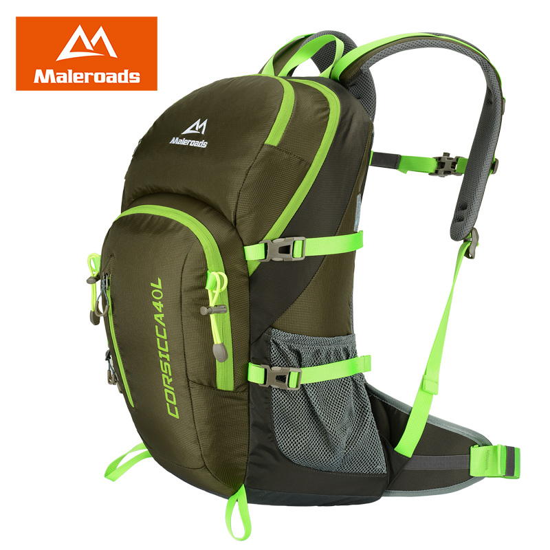 New! Maleroads 40L Hiking Backpacks Waterproof Nylon Climbing Rucksack Outdoor Camping Backpack for Traveling with Rain Cover locallion brand 40l outdoor sports backpack for hiking camping climbing fishing women men waterproof nylon big knapsack xa562yl