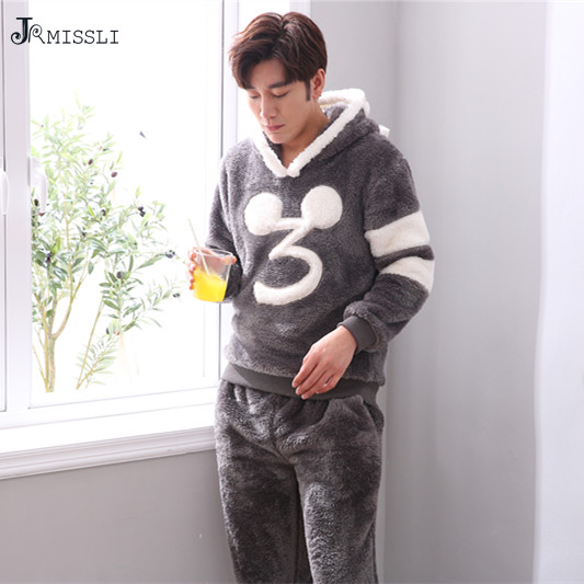 8b79a66837 JRMISSLI thickening winter Flannel pajamas pyjamas mens thick male Plush  Home
