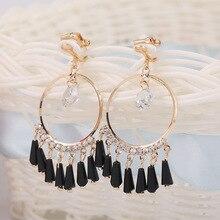 Black circle clip-on earring rhinestone non pierced ear clip round tassel brincos