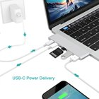Silver 2 USB Ports Type-C USB3.0 Hub Combo Card Reader PD Charging 4K HD 6 In 1 Converter For Thumb Drive Keyboard Phone