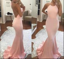 2019 Elegant African American Black Girls Backless Prom Dress Long Mermaid Pink Simple Evening Dresses Gowns