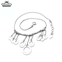 DELIEY Genuine 925 Sterling Silver Coin Tassel Anklet Bracelet For Women Leg Foot Sandals Ankle Chain Bracelet Beach Jewelry
