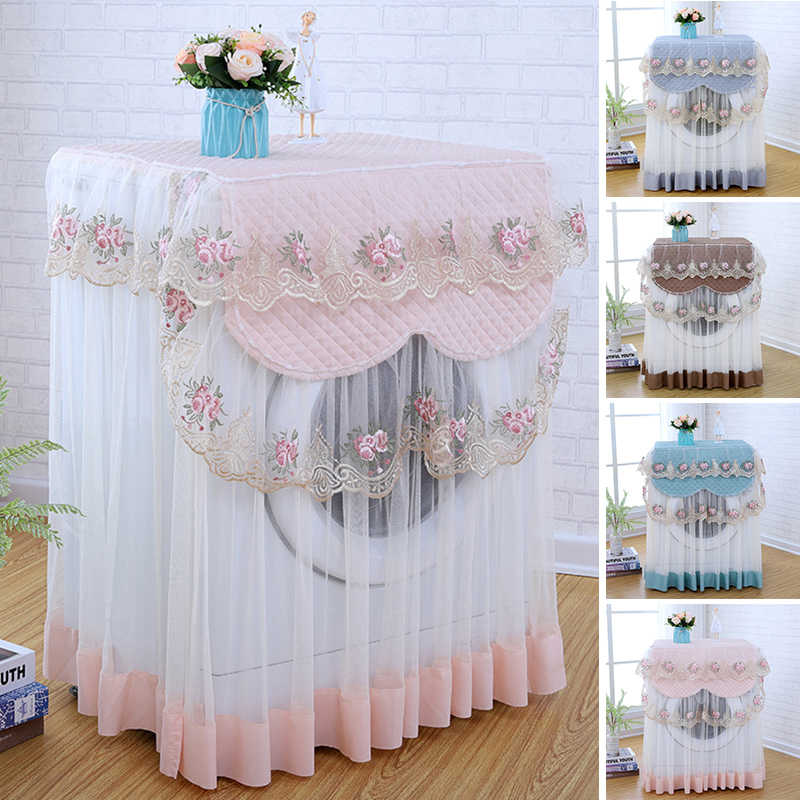 Beige, Average Size VOSAREA Washing Machine Cover Lace Ruffle Floral Waterproof Fully Automatic Washing Machine Cover Dust Cover