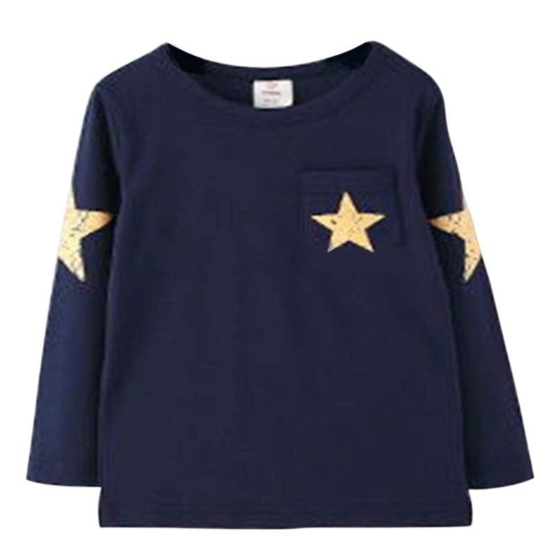 Nuevo niño niños niño bebé estrella patrón manga larga Tops camiseta ropa 7b684ccd6c2