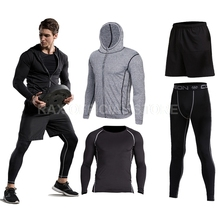 2017 Sport Suit Men's Sport Running Suits Running Compression Homme Gym Hoodie Training Running Tracksuits Men Gym Clothing 6pcs