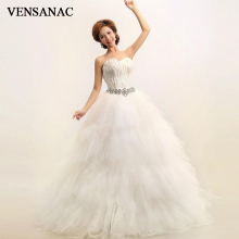 VENSANAC 2018 Feathers Strapless Lace Ball Gown Wedding Dresses Crystal Off The Shoulder Backless Bridal Gowns vensanac 2018 crystal sweetheart sequined ball gown wedding dresses short sleeve off the shoulder backless bridal gowns
