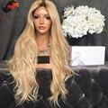 XCSUNNY Ondulado Brasileño Dos Tonos #4/#27 Color Llena Del Cordón Humano Pelucas de cabello 180 Densidad Ombre Glueless Del Frente Del Cordón Del Pelo Humano pelucas