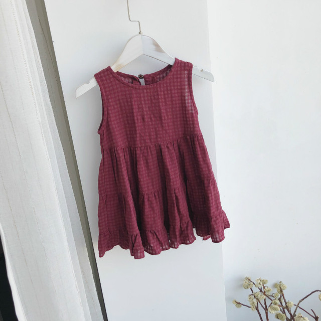 2018 New Hot Summer Toddler Kids Baby Girls Lovely Clothes Wine Red 100% Cotton Ruffles Party Sleeveless A Line Dresses