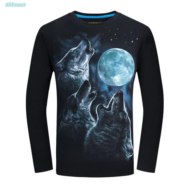 Spring Fashion Kids Shirts Boys Cotton Children Big Boys Long Sleeve 3d Animal Teen Wolf  T-shirts Men T Shirts 12 To 20 Years