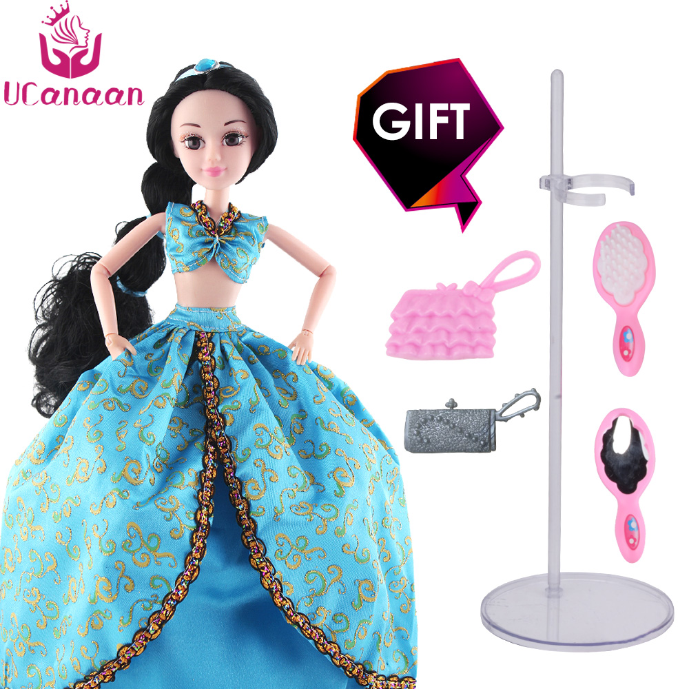 UCanaan Aladdin Doll Fairy Tales Dolls 30CM Height Fashion Toys Wedding Dresses Long Thick Hair Joint Body Dolls Christmas Gift english fairy tales