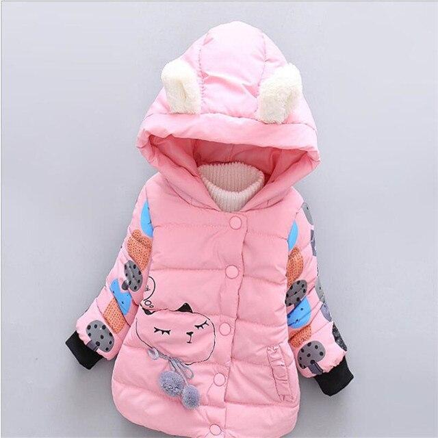 Новые прибытия детские девушки зима теплая верхняя одежда мода мультфильм животных pattern младенческая малышей пальто 2016 новый стиль 3 цветов