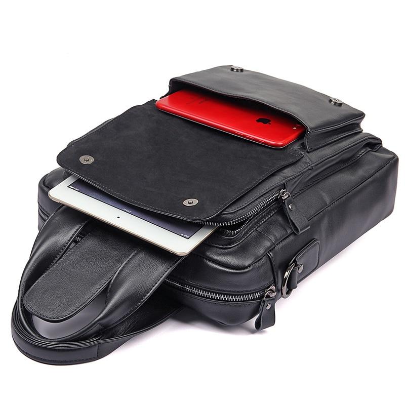 J.M.D Натуральная кожа Мужская маленькая Hnadbag однотонная черная сумка мессенджер модная сумка через плечо высокое качество сумка на плечо 7266A - 4