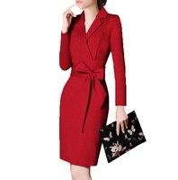 Ceinturée 2016 Formelle Robe À Manches Longues Automne Élégant Casual Femmes Moulante Robes Vêtements De Travail Robe Femme Noir Rouge Plus La Taille S ~ 3 XXXL