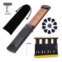 Tooyful 4 Fret 6 Strings Right-Handed Pocket Guitar Travel Set for Beginner Kids Practice Tool Finger Exercise