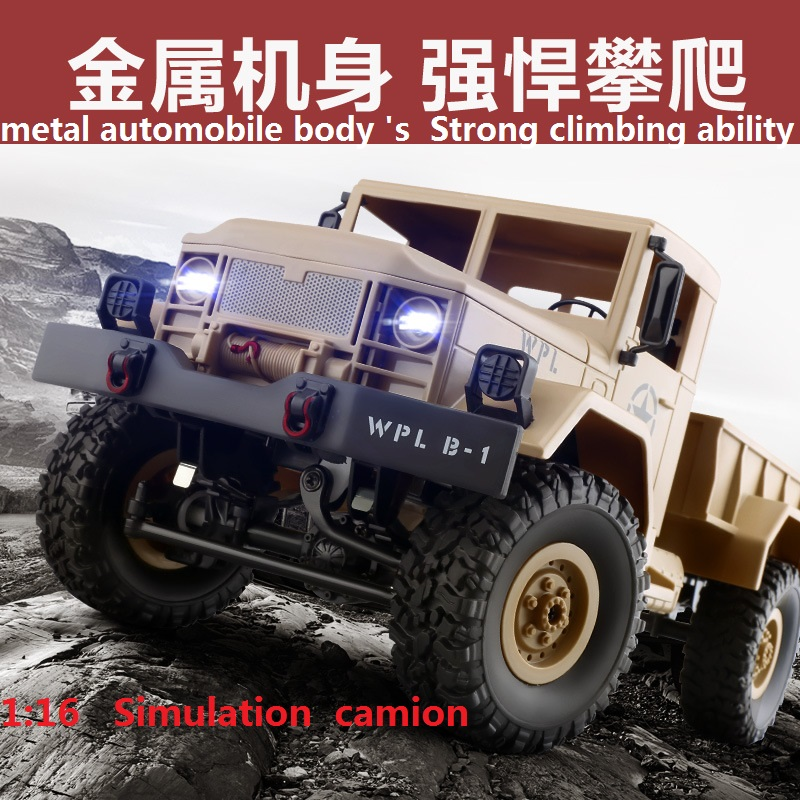 Full Metal Jacket <font><b>truck</b></font> 1:16 2.4G 4WD RC Crawler Remoted Control Car With <font><b>Light</b></font> RTR Toy Gift For Boy Children Off Road Truc image