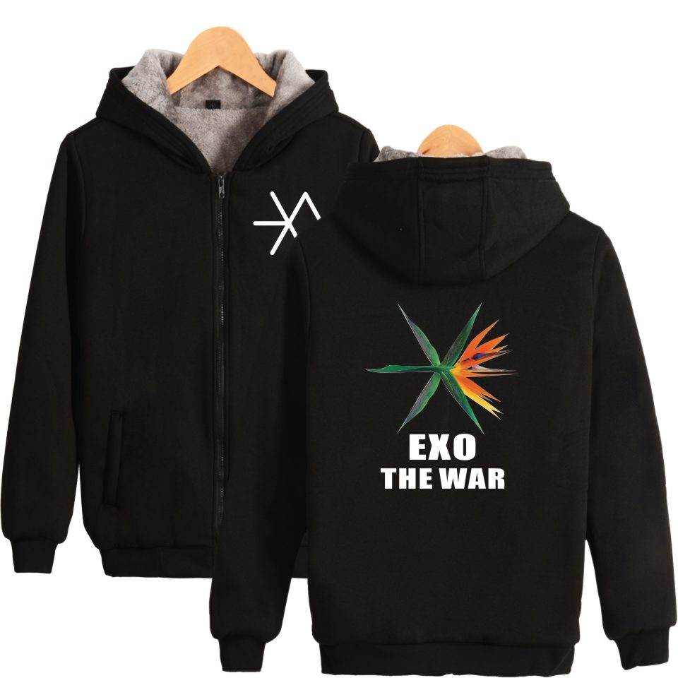 BTS EXO THE WAR Korean Kpop Thicker Hoodies Zipper Women Fashion Hip Hop women Hoodies Sweatshirts Winter Warm XXS-4XL Clothes