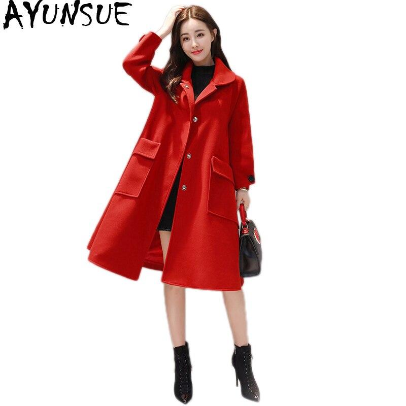 Laine Sand Feminino Coréen Long Manteau Red Casaco Lâche Manteaux green Femme Rouge D'hiver Style Abrigo En Femmes Casual bean Ayunsue Mujer Kj176 htsdQr