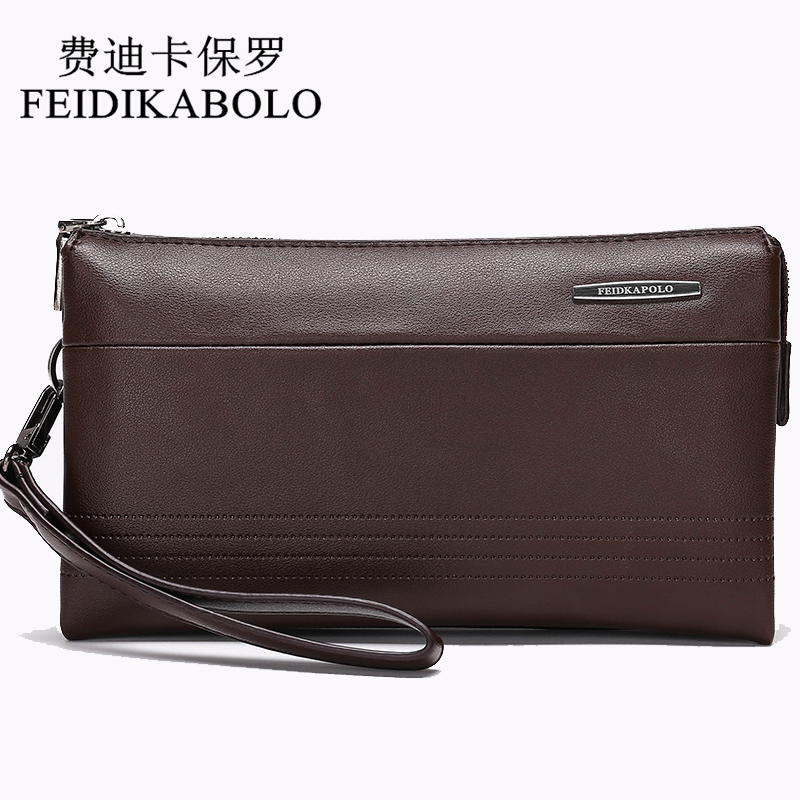 FEIDIKABOLO Luxury Leather Long Wallet  Men Pruse Male Clutch Wallets Handy Bags Large Capacity Carteras Mujer Zipper Wallets 2016 famous brand new men business brown black clutch wallets bags male real leather high capacity long wallet purses handy bags