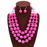 African Beads Jewelry Set Fashion Bridal Jewelry Sets Maxi Necklace Earrings Set Nigerian Wedding Jewelry Jewellery