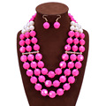 African Beads Jewelry Set Fashion Bridal Jewelry Sets Maxi Necklace Earrings Set Nigerian Wedding Jewelry Jewellery Set Joias
