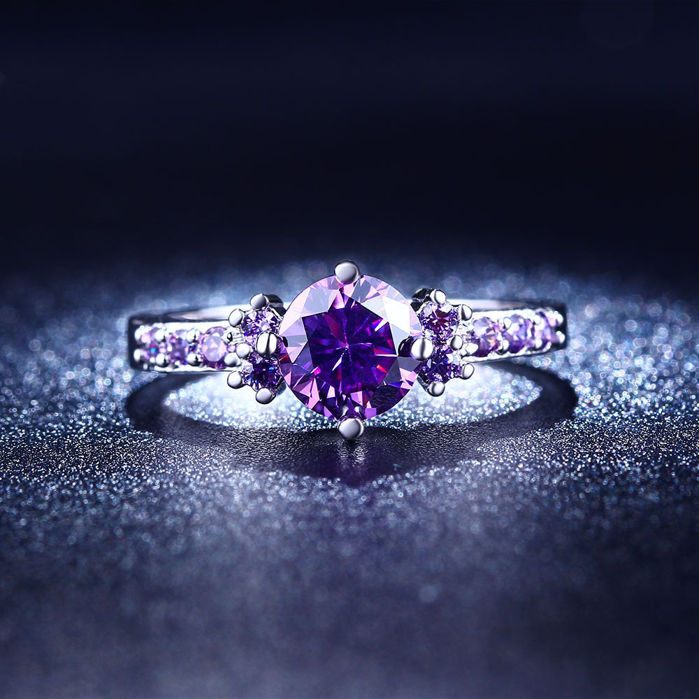 Silver Color Engagement Rings Purple Cubic Zirconia Anel Jewelry For Women  Love Bague Anillos Mujer Gift