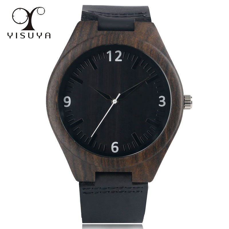 New Modern Nature Wood Women Quartz Simple Style Genuine Leather Band Strap Men Gift Bamboo Wrist Watch Wooden relogio masculino