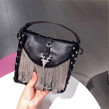 Women Crystal Deer Totes Black Red Luxury Handbags Tassel Leather Clutch Evening Bag Ladies Small Crossbody Shoulder Bags