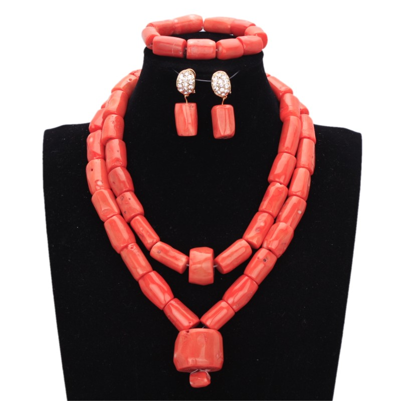 Wedding Jewelry Set Bridal Party Nature 100% Original African Nigerian Coral Beads Jewelry Set Free Ship Big Necklace Set Women graceful white african bridal beads jewelry set nigerian crystal rhinestone bridesmaid women wedding necklace free ship qw677