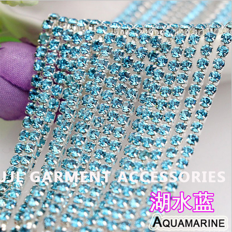10yards Silver base Aquamarine Color SS6 ss8 ss10 ss12 intensive Strass style diy crystal chain sew on rhinestones chain
